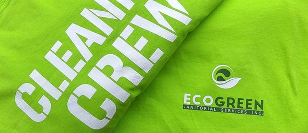 Close up of ElastX heat transfer on green custom tshirt for Eco Green