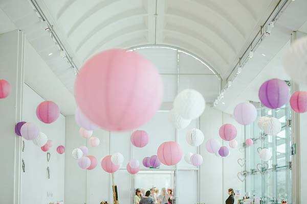 Event Venue decorated with pink paper lanterns