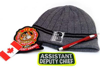 Promotional Products including a hat, pen and patches